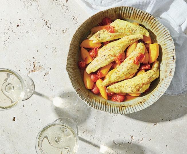 Gurnard, Tomato and Saffron Potato Traybake