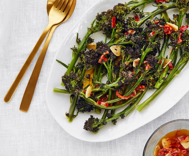 Purple Sprouting Broccoli in Anchovy Butter Dressing