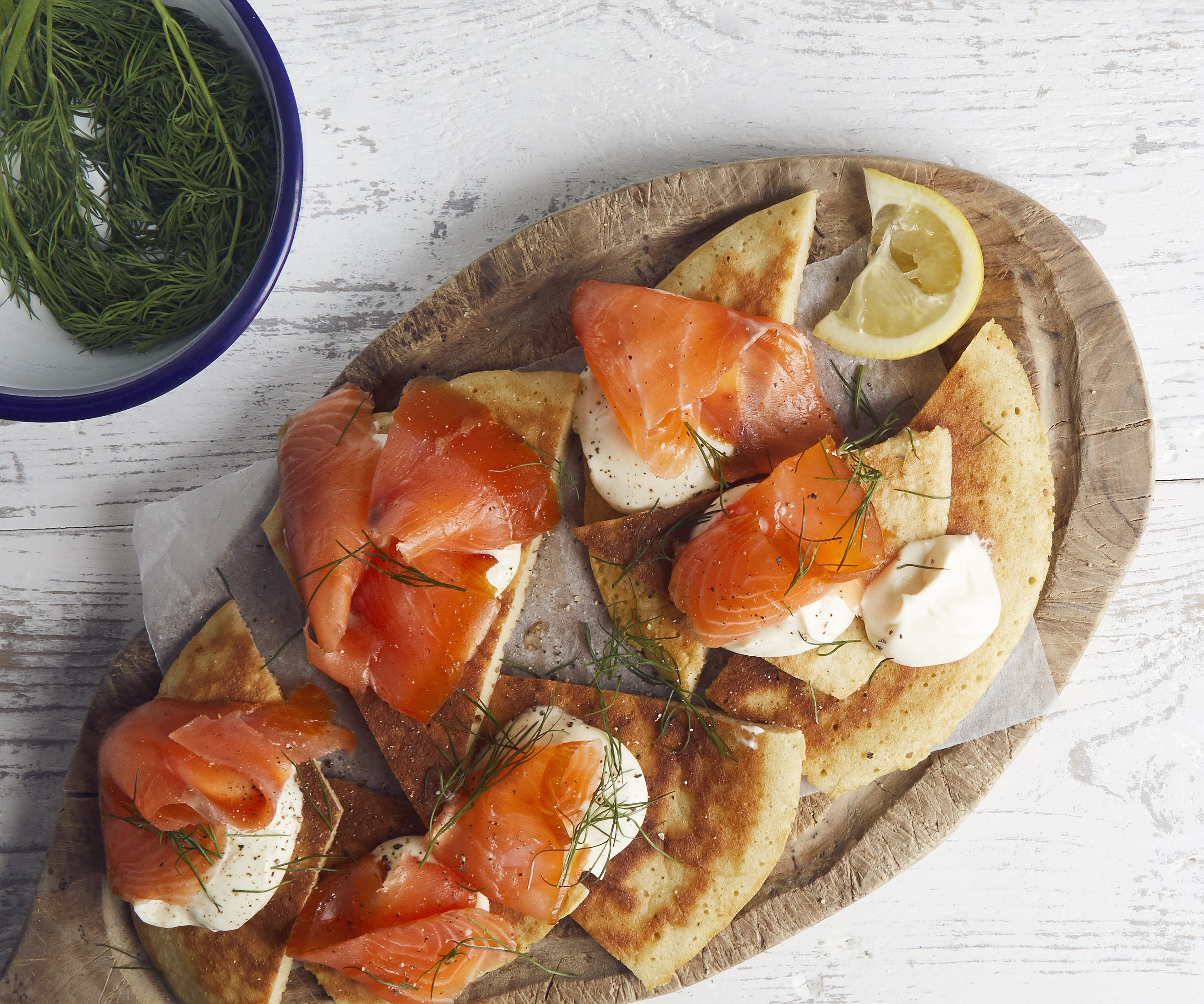 Buckwheat Pancakes with Smoked Creme Fraiche and Smoked Trout