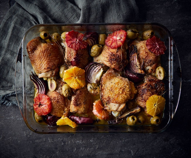 Roast Chicken with Blood Orange and Green Olives