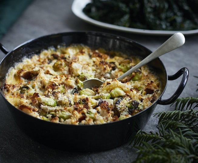 Brussels Sprout, Bacon and Cheddar Gratin