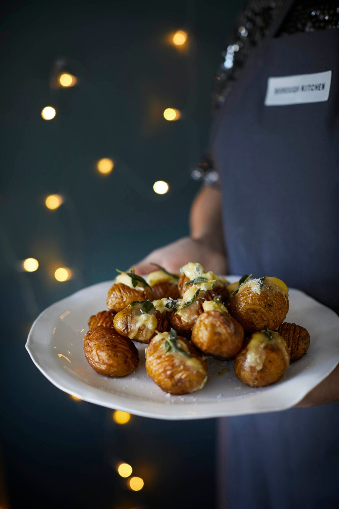 Hasselback Potatoes with Blue Cheese and Crispy Sage
