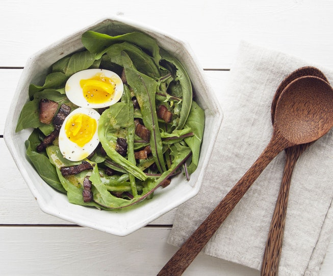 Dandelion Salad with Soft Boiled Eggs and Crispy Pancetta