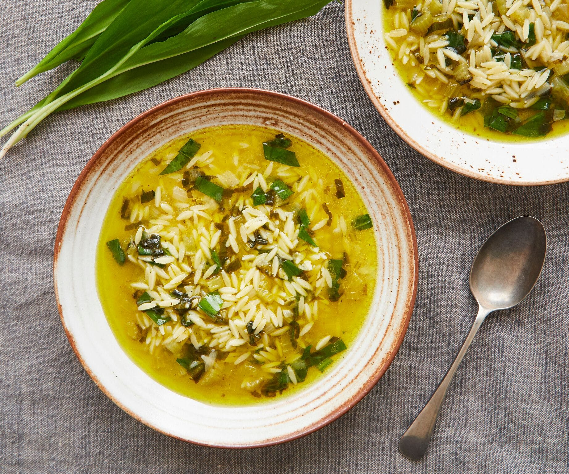 Wild Garlic, Lemon and Orzo Soup