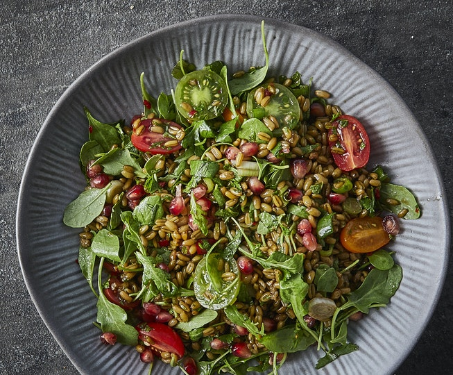 Herby Freekeh, Pomegranate and Tomato Salad