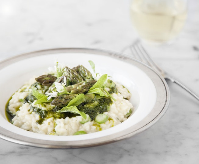 Asparagus Risotto with Wild Garlic, Mint & Lemon Oil