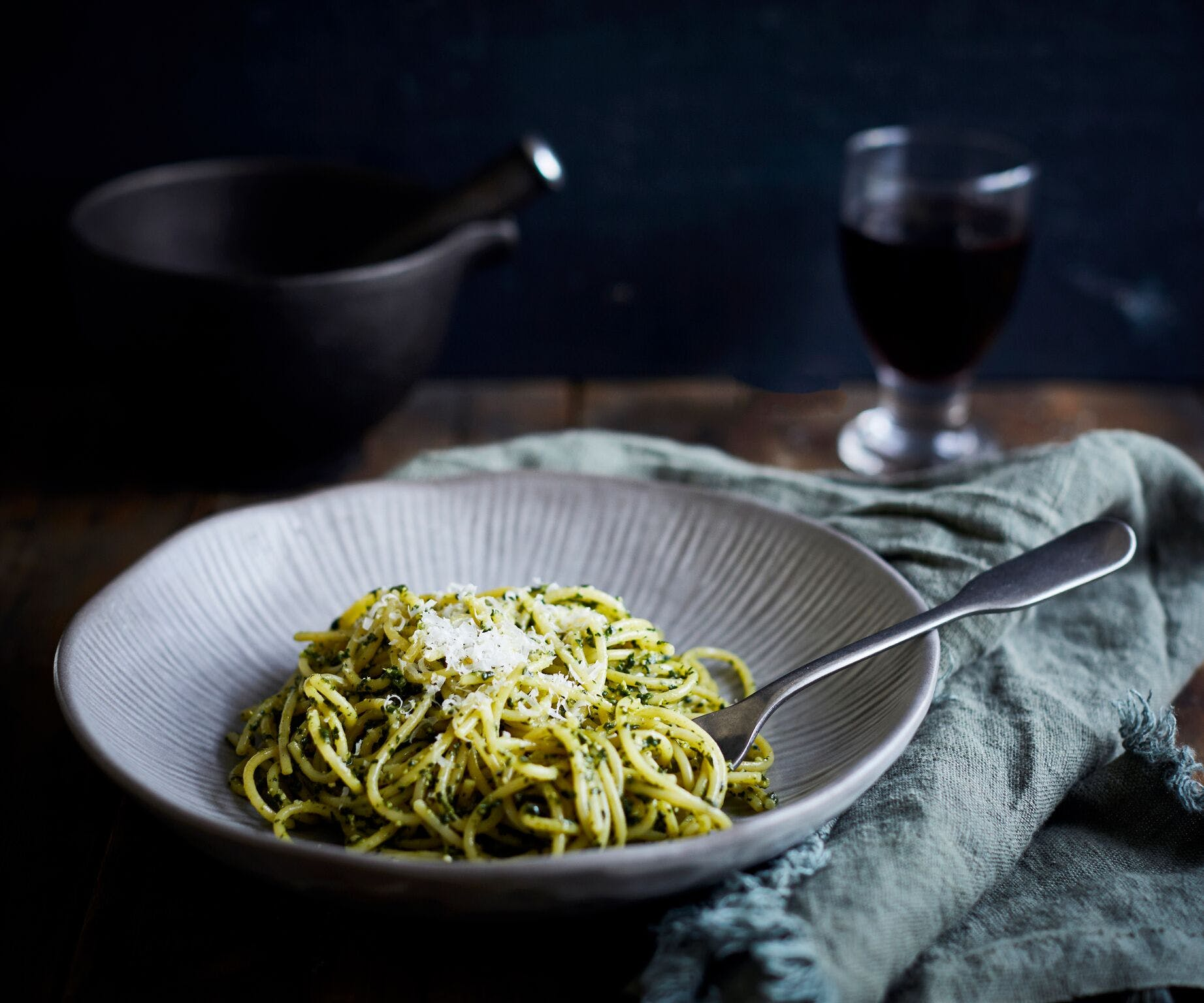 Spaghetti with Black Garlic and Cavolo Nero