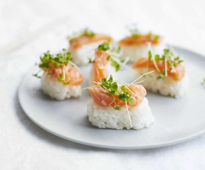 Salmon and Micro Wasabi Sushi