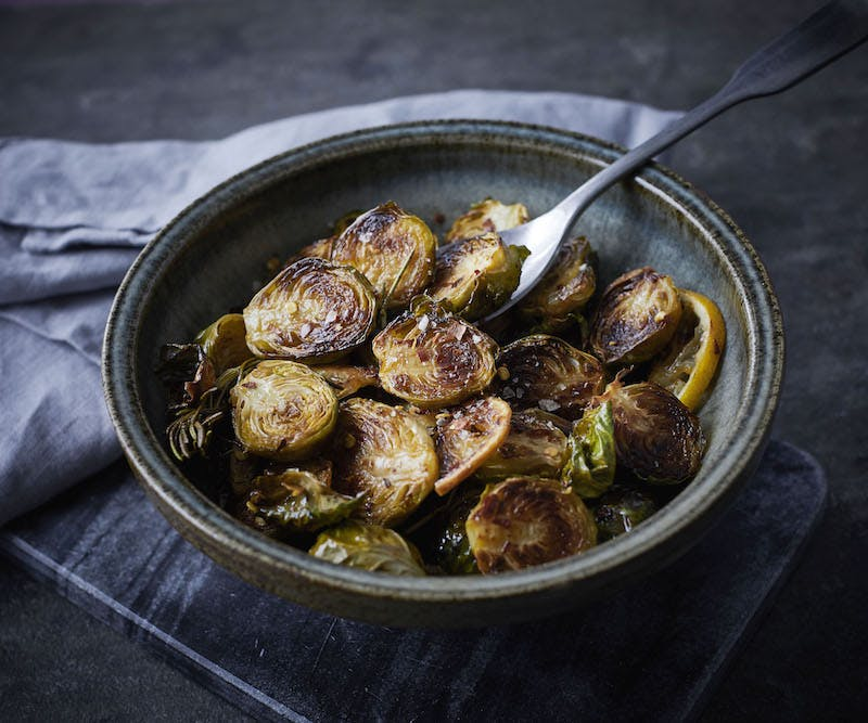 Roasted Brussels Sprouts with Lemon and Chilli