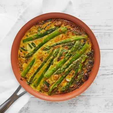 Wild Garlic, Asparagus and Jersey Royal Frittata