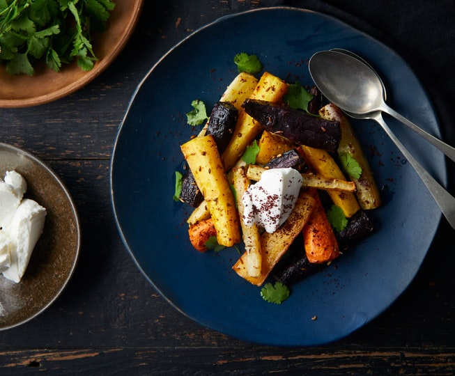 Spiced Roasted Rainbow Carrots with Goat's Curd