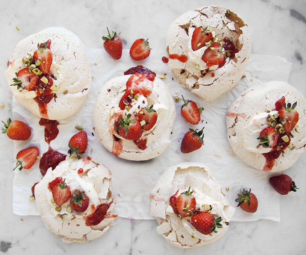 Messy Strawberries & Cream Pavlovas