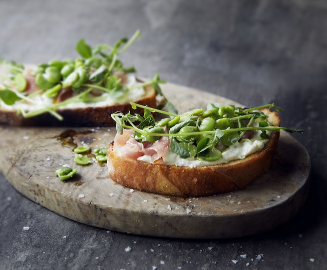Broad Bean, Parma Ham & Lemony Ricotta Toasts