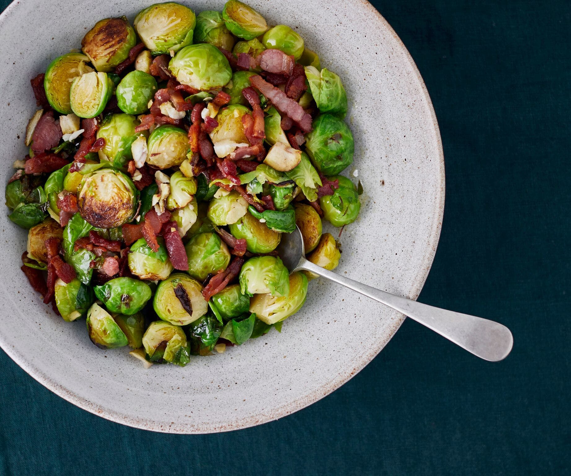 Pan-Fried Brussel Sprouts with Bacon and Chestnuts
