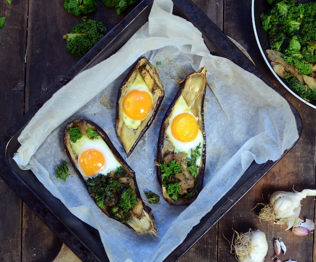 Aubergine baked eggs recipe gluten free dairy free vegetarian aubergine baked eggs forumfinder Image collections