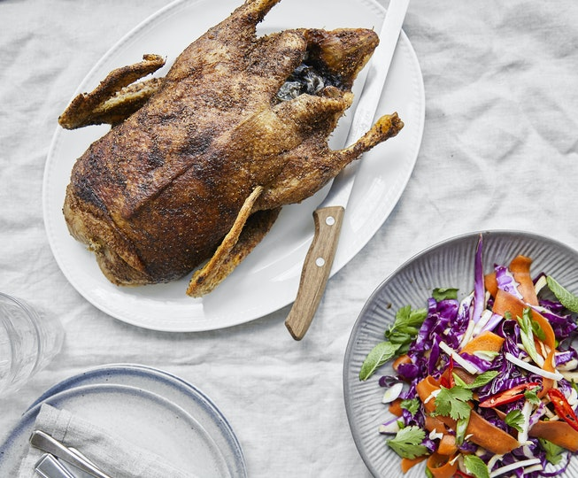 Whole Roast Spiced Duck with Crunchy Asian Slaw