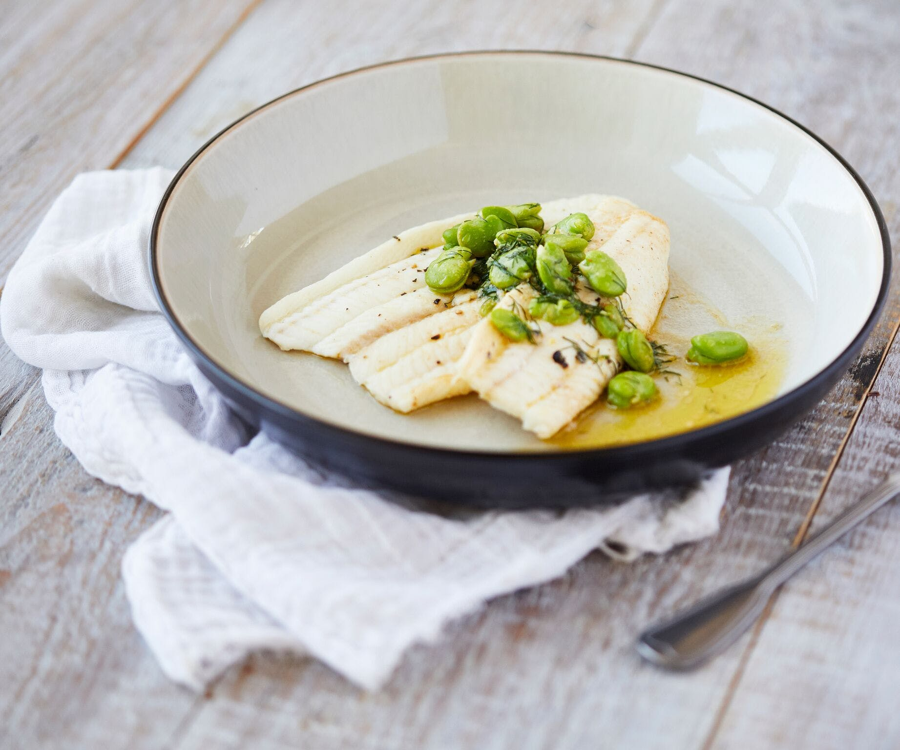Dover Sole with Broad Beans and Dill