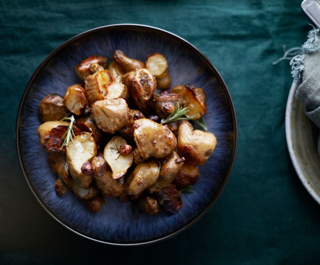 Jerusalem Artichokes with Rosemary, Honey and Hazelnuts