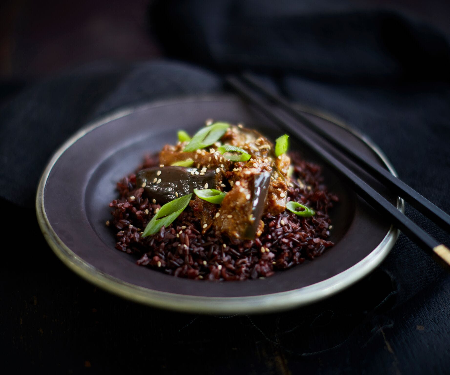 Miso Aubergine with Red Rice