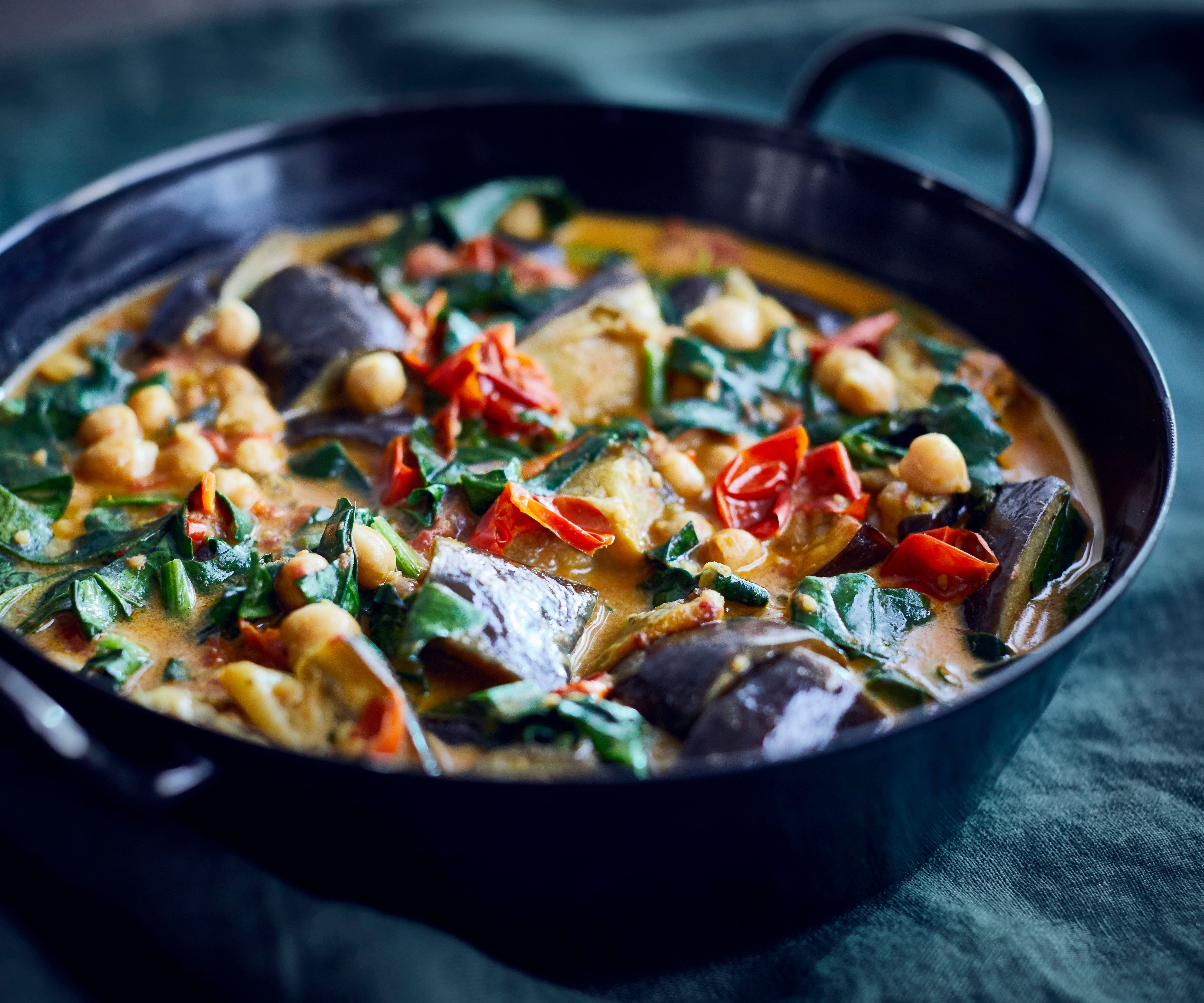 Baked Aubergine and Chickpea Curry
