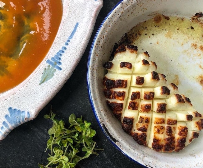Georgina Hayden's Grilled Halloumi with Apricot Jam and Honey