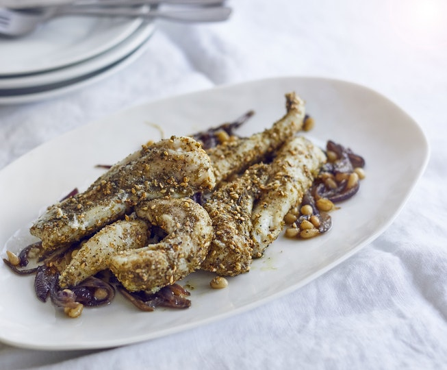 Za'atar Roasted Monkfish with Caramelised Onion and Pine Nuts