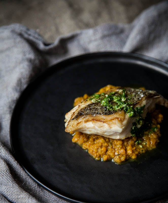 Pan Roasted Hake with Coriander Pesto & Dal