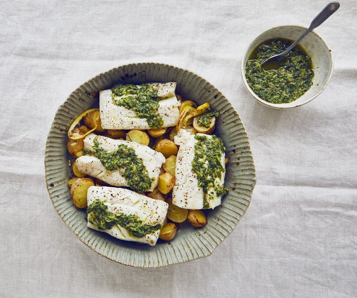Baked Cod and Potatoes with Wild Garlic Salsa Verde
