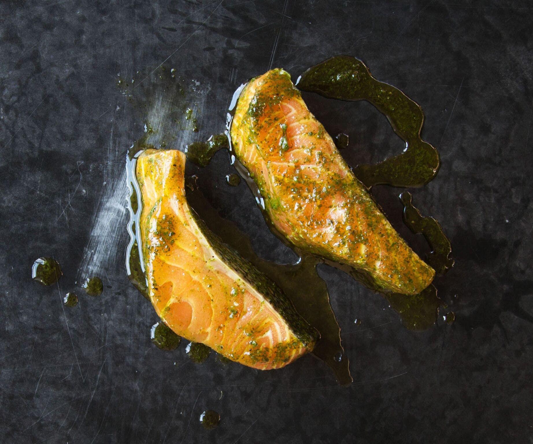 Marinated Salmon fillets in Coriander Oil