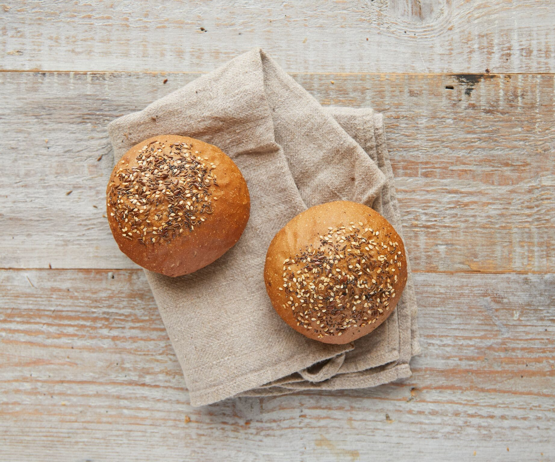 Rye Burger Buns Topped with Seeds