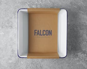 Square Baking Tray - Original White with Falcon Blue Rim